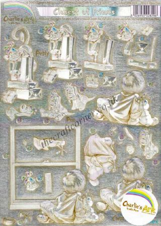 Charlie's Ark Teddy Bear Closest of Friends Die Cut Dufex 3d Decoupage Sheet